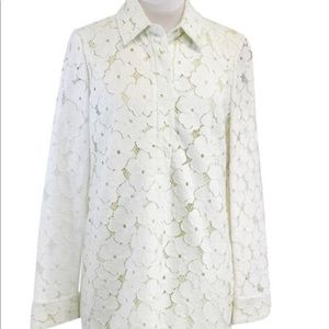 DVF Leandra Lace Overlay Shirt Dress Lime Size 0